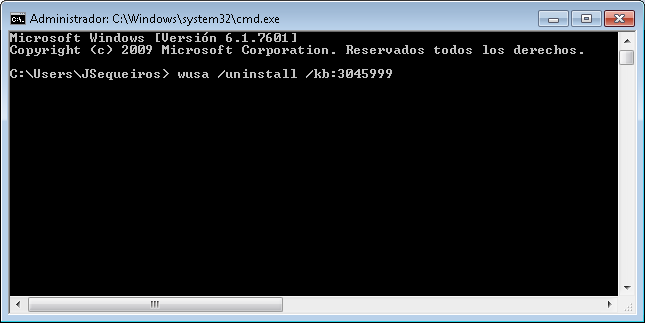 Wusa de windows actualizacion 3045999