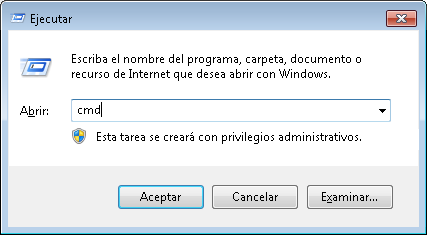 Ejecutar tecla windows+R