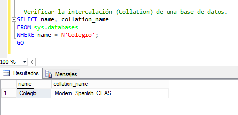 Cambiar la intercalación (Collation) de una base de datos SQL Server