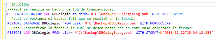 Restaurar un backup de una base de datos con WITH STOPAT en SQL Server