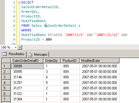 Cláusula WHERE con múltiples condiciones en SQL Server