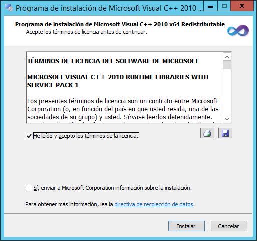 Instalación de Microsoft Visual C++ 2010 SP1 Redistributable Package (x64)