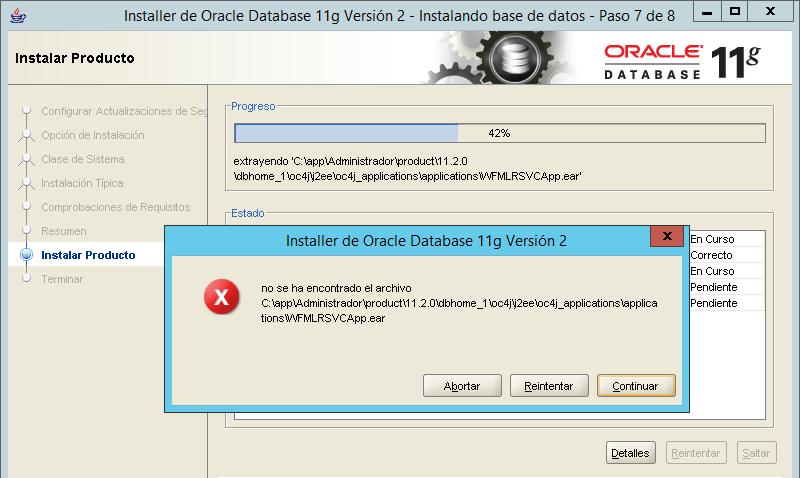 Solucionar error en instalación de Oracle 11g falta el archivo WFMLRSVCApp.ear