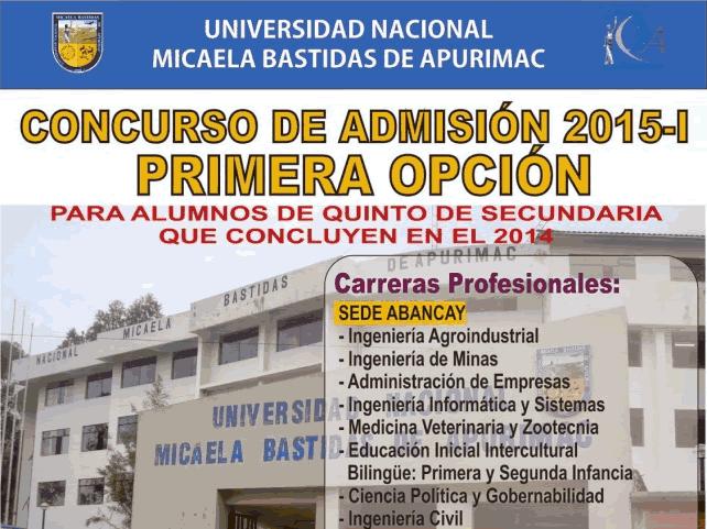 Examen de primera opción UNAMBA 2015-I