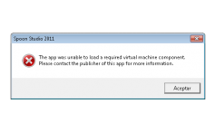 Error: The application was unable to load a required virtual machine component.