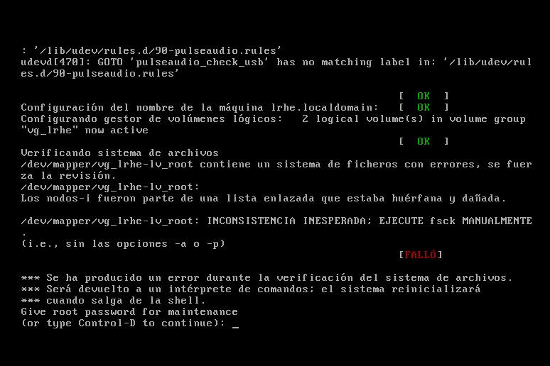 Verificando sistema de ficheros en Linux
