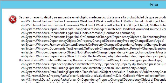 Solución del problema en Clúster de conmutación por error en Windows Server 2012