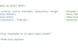 Sentencia SQL SELECT INTO